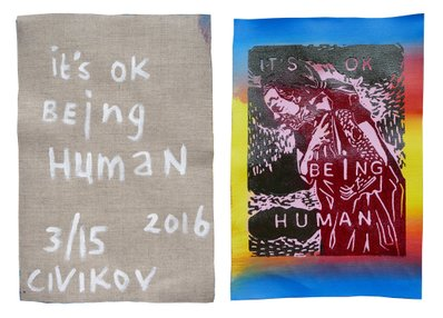 """it's ok being human"" - 2016 - multiple of 15 (+ 3 x artist print). Oil based 2 color Linocut, All with a different acrylic underpainting which makes them all unique. Printed on linen (unstretched). Size: ± 34 x 23 cm."